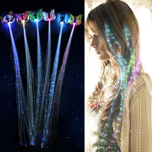 LED Brilhante brilho do cabelo Braid flash Fiber clipe hairpin Luminous Borboleta Headband Partido LED luminescente LED Christmas Gift WCW816