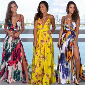 Frauen Boho lange Maxi-Kleid-Sommer Sexy Riemchen tiefer V-Ausschnitt Backless Hoch Split-Kleid-Frauen-elegante Partei-Kleider mit Blumen Vestidos