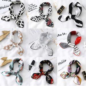Women Small Satin Silk Scarf Square Print Wrap Foulard Femme Handkerchief Bandana Neck Hair Skinny Tie Scarves Shawls