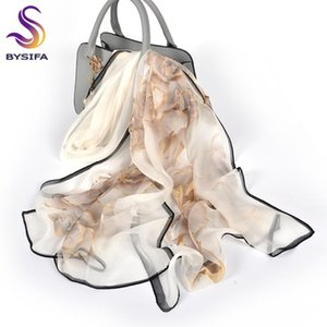 [BYSIFA] Feminino Primavera Branco Chiffon lenços de seda New Design Floral longa 100% Silk Scarf Shawl Outono Inverno Mulheres Neck Scarf