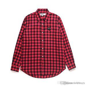 2018 Melhor Qualidade Coração Emoji PLAY C335 Vermelho Das Mulheres Dos Homens Camisa Longa Blusa treliça CDG Com Manga Comprida Des Garcons T-shirt