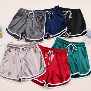 Outdoor Women joggers Shorts Summer Silk Slim Beach  Casual pants White Egde Shorts Hot shorts pants with pocket ZZA314