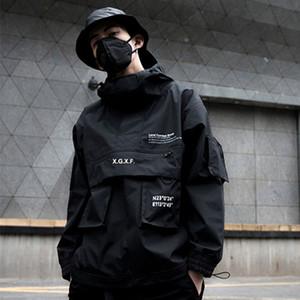 2019 nova carga preta jaquetas blusão homens streetwear Tático jaqueta pulôver multi-bolso masculino outono casaco com capuz