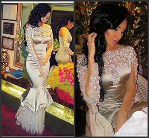2019 Nouvelles Perles Arabe Robes De Soirée Sirène Sheer Bateau Cou À Manches Longues Appliqued Formelle De Bal Robes Femmes Occasion Occasion Robe 2018