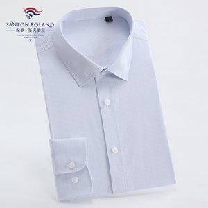 Top Quality Men's Wear High Grade Pure Cotton DP Ready-to-wear Shirt Men Trim Long Sleeve Business Solid Color Formal Dress Shirts DP212