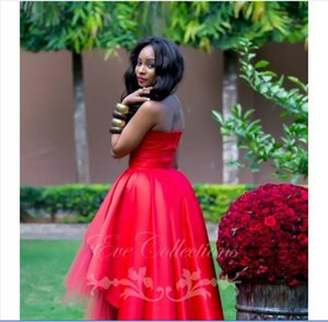 Sexy Ball Gown Red African Hi Low Tulle Cheap Discount Prom Dresses Short Party Homecoming Dresses