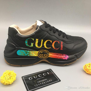 Rhyton Leder Herren Designer Sneaker Luxury Fashion Damen Sneakers Unisex Casual Schuhe mit Box Größe 35-45