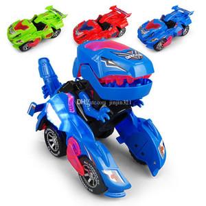 3 Farben Kreative Kinder Spielzeug Mini-Dinosaurier Verwandlungsauto Elektro-Spielzeug mit Light Music Dinosaurier Deformations-Auto-Modell Weihnachtsgeschenk