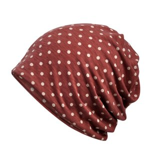 Women Beanies Cap Scarf Dots Printed Breathable Ponytail Stretch Female Hat Neck Warmer Riding Sleeping Yoga Casual Headwear