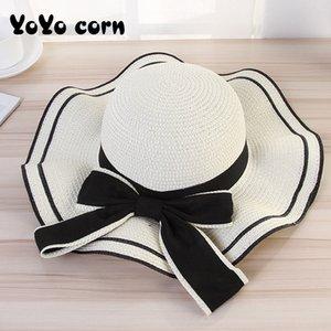 YOYOCORN Frau Panama Sommer gekräuseltes Hat Lady Handgemachte Hut Strohsun Big Sun Kappe Tourismus Frühling und Herbst