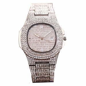 Новый Полный Алмазная часы Водонепроницаемый Мужские часы Мода кварцевые наручные часы из нержавеющей стали Прохладный календарь Мужские часы Подарок