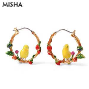 Großhandel Trendy Creolen Für Frauen Handgemachte Blume Vogel Ohrringe Modeschmuck Emaille Glasur Für Hochzeit Hohe Qualität