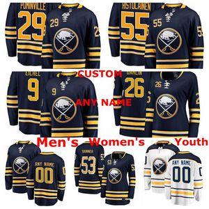 Buffalo Sabrers Jerseys Jeff Skinner Jersey Jack Eichel Rasmus Dahlin Jason Pominville Rasmus Ristolainen Ice Hockey Jerseys cucito personalizzato