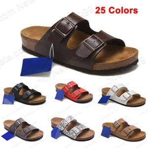 Alta calidad FLor Arizona Birk zapatillas de cuero genuino de las sandalias de corcho mujeres de los hombres al por mayor de apartamentos de playa ocasional del verano con la hebilla del deslizador