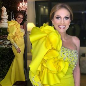 Uma Manga Longa Mancha Amarelo Vestidos de Noite com Ruffles Frisado Sereia De Cristal Vestidos de Baile Formal Vestidos de Festa