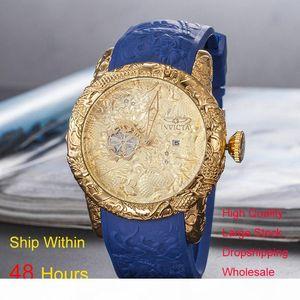 Military Quality Watch Luxury Mens Watches Designer Gold Men Wristwatch Quartz Day Date Man Rubber Clock Watch Montre de luxe Dropshipping