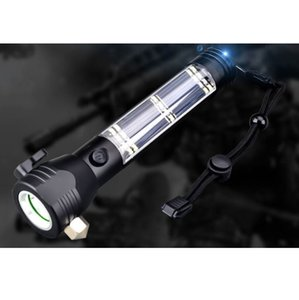 LED Flashlight Solar Power Car Flashlight LED Camping Flashlight Torch Lamp With Saftety Hammer Seat Belt Cutter Compass HH9-2628