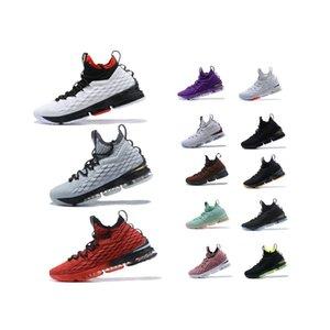 الشحن مجانا مصمم الأحذية رجل basketballl ثلاثية أسود أبيض الرياضية الذهب الاحذية LBJ15 المدربين منصة الأحذية