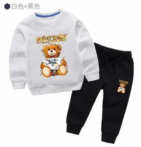 Nova 2020 Marcas Designer menina roupas de outono bebê Set Crianças Boy manga comprida com capuz Top + Pants 2 PCs Suits Moda Roupa Crianças