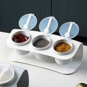 2 Colors Creative Style Marble Pattern Ceramic Kitchen Seasoning Tank Set Wooden Cover Salt Shaker Spice Jar Kitchen Accessories