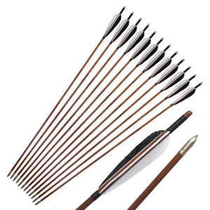 12pcs Linkboy Archery Bamboo Arrow 5'' Turkey Vanes Recurve Compound Traditional Bow Hunting and Shooting