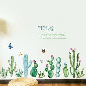 Cactus mur autocollant style pastoral Chambre fond Salon Maison Décoration murale Plinthe Autocollants Fond d'écran