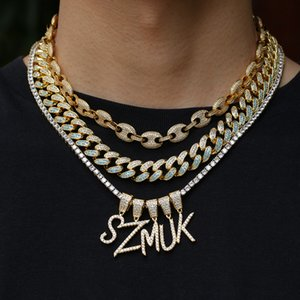 Name Necklaces Brush Font Letters Pendant Cubic Zirconia Full Iced Out For Men HipHop Jewelry Gift