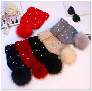 Christmas vieilles filles chapeaux chapeaux enfants rivet perles perles chapeau chapeau chapeau enfants Big Pompon Beanie Winter Femmes épaissir Caps Caps chauds tricotés J1340