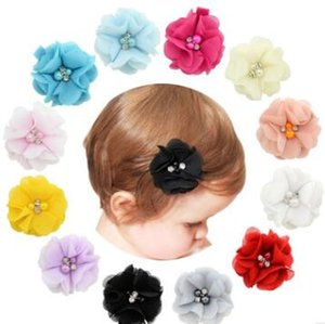 sólidos clips de la flor de gasa para el cabello 1 uds bebé recién nacido bebé clips Mini pelo de las muchachas embroma los accesorios Barrettes