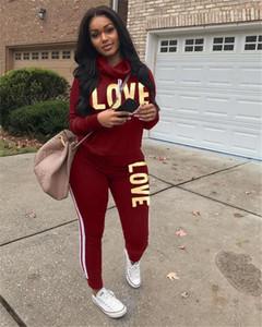 LOVE 2 piezas para mujer chándales de manga larga cuello de la capucha letras impresas de las señoras ropa de deporte casual relajado Ropa para Mujer