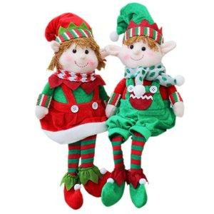 Large Plush Elf Elves Dolls Toys Christmas Tree Ornaments New Year Xmas Home Decor Kids Festival Gifts Pendant 48X16cm