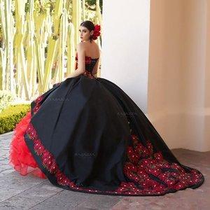 Rilievo increspato nero abito di sfera Quinceanera 2020 fuori dalla spalla increspature principessa Sweet 16 Dresses abiti del partito vestidos de 15 años