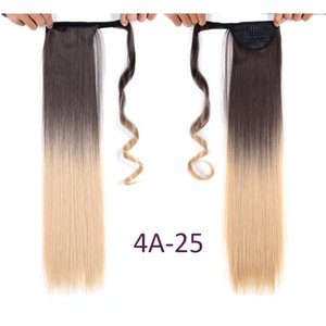 """Shang Hair Straight Clip In ponytail False Hair 17"""" Ponytail Hairpiece With Hairpins Synthetic Pony Tail Hair Extensions 110g pc For Women"""