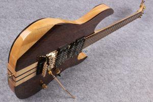 Personalizado 24 Frets RG Prestige Neck Thru corpo 77 Natural Walnut Brown guitarra elétrica Floyed Rose Tremolo ponte Locking Nut, HSH Pickups