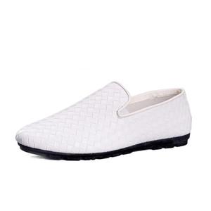 Loafer'lar Dokuma Yumuşak Deri Ayakkabı Nefes Hafif Lazy Sürüş Ayakkabı On Makosenler Erkek Kayma Casual Düz Loafer Tasarımcılar