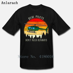 Real Pilots Dont Need Runways Helicopter Pilot T Shirt Normal Comical Short Sleeve Homme Summer Style Crew Neck Printed Shirt