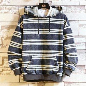 Stripe Panelled Mens Designer Jean hoodies di modo Pullover Big Pocket Mens Jean felpe abbigliamento casual Maschi