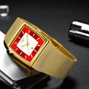 NIBOSI Herrenuhren Top-Marke Luxury Blue Square Quarz-Uhr-Männer wasserdichte goldene Mann Armbanduhr Männer Relogio Masculino