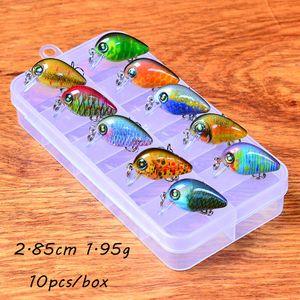 10pcs / box Crank harte Köder-Köder 10 Farbmisch 2.85CM 1.95G 14 # Angelhaken Pesca Angelausrüstung KL_37