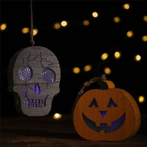 Halloween wooden 2019 New Year Coloured lights Human skeleton pumpkin pendant Horror hanging lights DIY Halloween street light