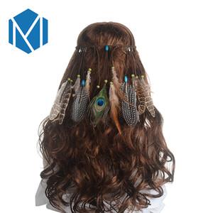 MISM Этнические Индийский Перо Головной Убор Пляжный Праздник Волос Веревка Богемия Ленты для волос Ручной Шлейф Волос Падение Повязка Для Волос Для Женщин