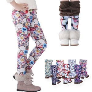 7 estilos Outono Inverno Crianças Meninas Legging Bebê Meninas Algodão Calças Lápis Quentes Childrens Flor Impresso Espessamento Calças M369