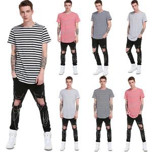 2019 New Fashion Herren Sommer T-Shirt Striped Top Beiläufige Lose Oansatz Kurze Ärmel