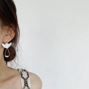 Budist kız küpe kadın sevimli küçük melek Cupid aşk inci S925 gümüş iğne küpe küpe tatlı