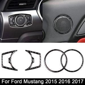 cadre de l'enceinte de l'interrupteur de phare réel en fibre de carbone pour Ford Mustang voiture Autoétiquettes-Styling 2015 2016 2017 Accessoires Auto