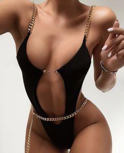 Seksi Cut Out One Piece Mayo Kadınlar Thong Mayo Yüksek Kesme parça bikini Zinciri Bandaj Yüzme Mayo bodysuit Plaj Giyim