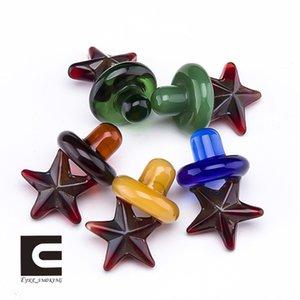 Étoile de style en verre Carb Cap pour les conduites d'eau de bangs en verre dab plates-formes pétrolières 4 mm Banger quartz