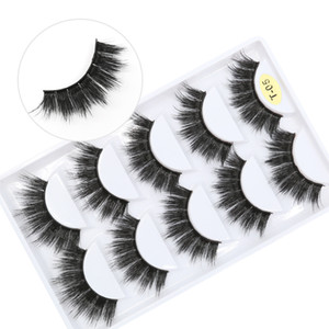 T05 factory wholesale price 7 styles 5pais EyeLashes Natural false Eyelashes 5 pairs 3D mink eyelashes silk eyelash free shipping