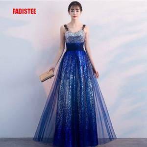 FADISTEE elegante noche de baile vestidos de fiesta vestidos de piso longitud estilo Vestido de Noiva el bling gradiente de lentejuelas una línea de tul