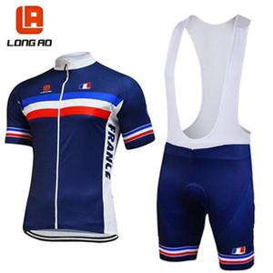 LONG AO Франция велокоманды синий мужской короткий рукав Джерси велосипедного короткие наборы летние гонки одежда одежда Pro Team